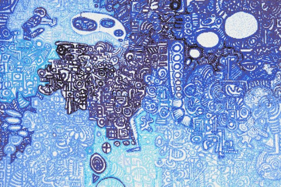 Blue symbols  Geometric Mosaic by Artaic