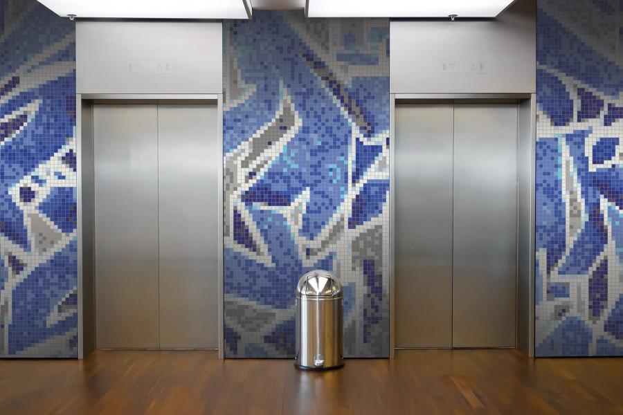 Blue Street Art Graphic Mosaic Installation By Artaic