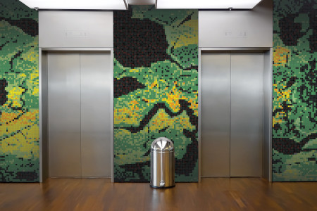 Green electric charge  Graphic Mosaic installation by Artaic