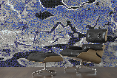 Blue electric charge  Graphic Mosaic installation by Artaic