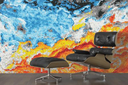 Blue nature  Textural Mosaic installation by Artaic