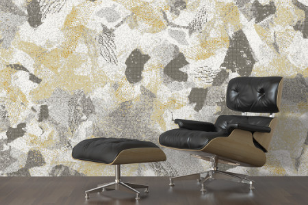 Neutral cutouts  Textural Mosaic installation by Artaic