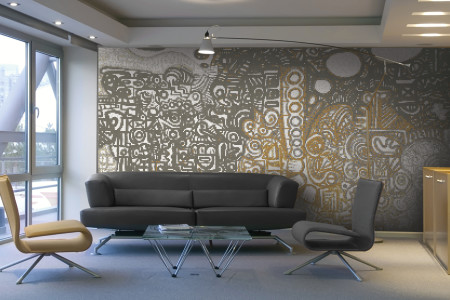 Neutral symbols  Geometric Mosaic installation by Artaic