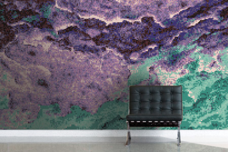Purple nature  Textural Mosaic installation by Artaic