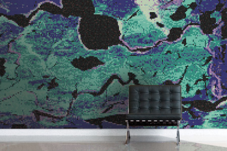 Turquoise electric charge  Graphic Mosaic installation by Artaic