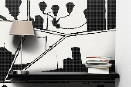 Black building structures  Graphic Mosaic installation by Artaic