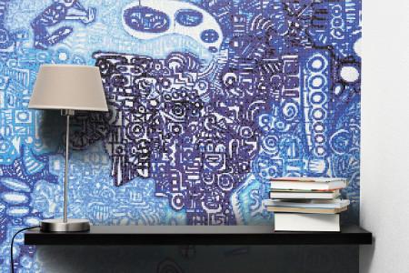 Blue symbols  Geometric Mosaic installation by Artaic