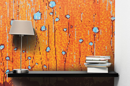 Orange nature  Floral Mosaic installation by Artaic