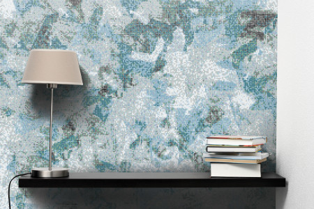 Turquoise layering  Textural Mosaic installation by Artaic