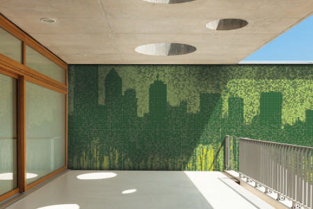 Green cityscape  Graphic Mosaic installation by Artaic