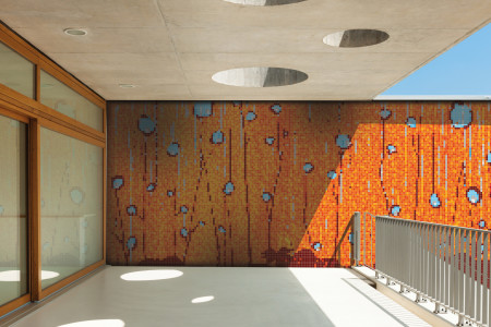 Orange nature  Floral Mosaic installation by Artaic
