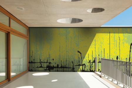 Yellow brushstrokes  Abstract Mosaic installation by Artaic