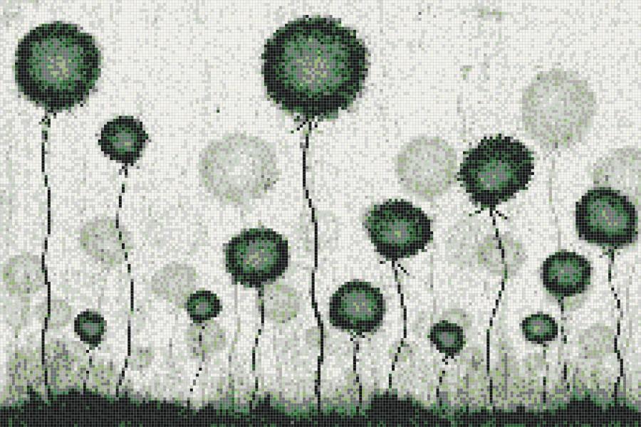 Green fields  Floral Mosaic by Artaic