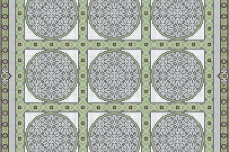 Green geometries Traditional Ornamental Mosaic by Artaic