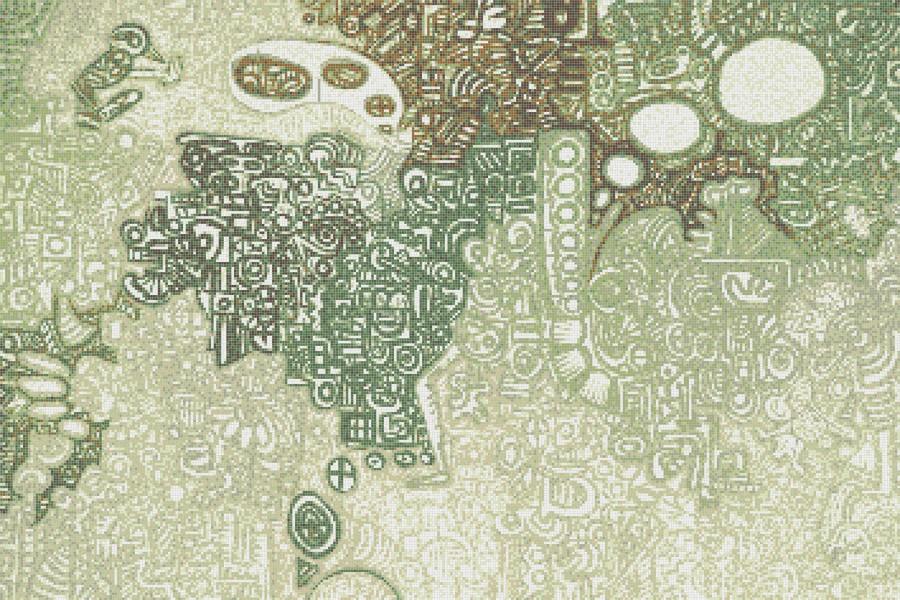 Green symbols  Geometric Mosaic by Artaic