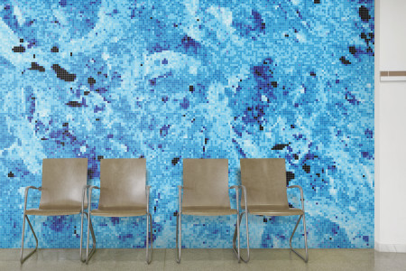 Blue paint droplets  Abstract Mosaic installation by Artaic