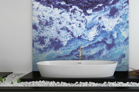 Blue nature  Textural Mosaic installation by Artaic