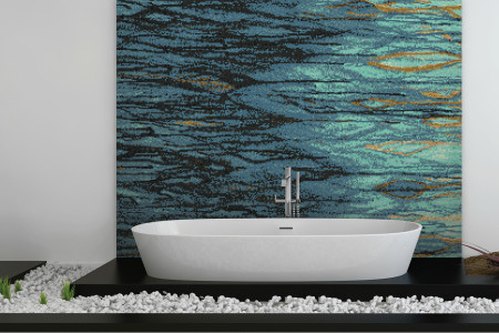 Turquoise water  Textural Mosaic installation by Artaic