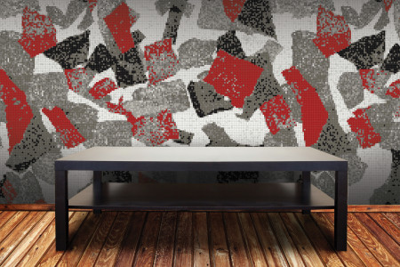 Red geometric shapes  Abstract Mosaic installation by Artaic