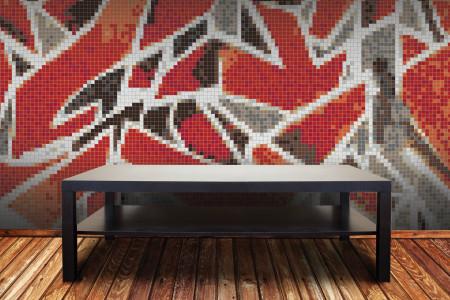 Red street art  Graphic Mosaic installation by Artaic