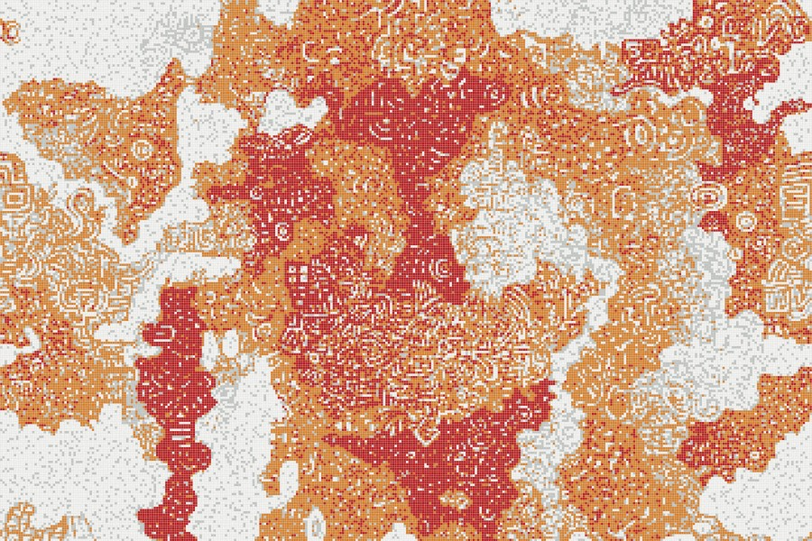 Orange clouds  Abstract Mosaic by Artaic