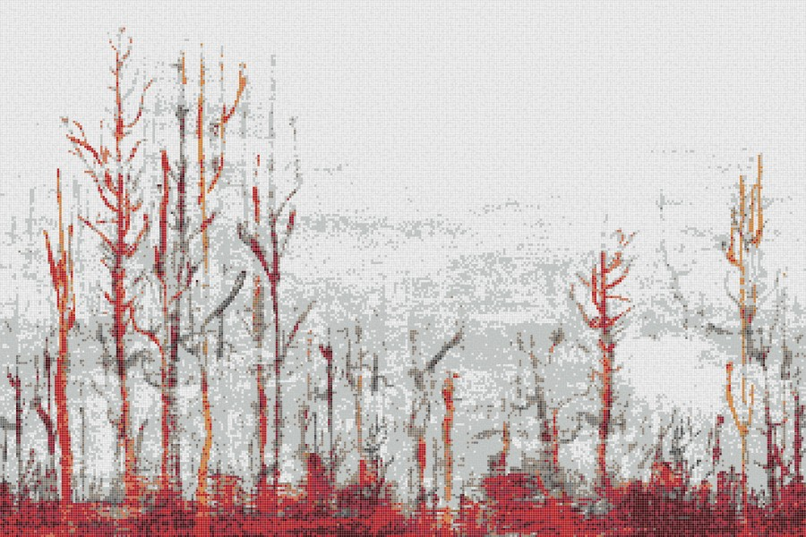 Red forest  Abstract Mosaic by Artaic