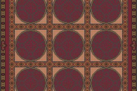 Red geometries Traditional Ornamental Mosaic by Artaic