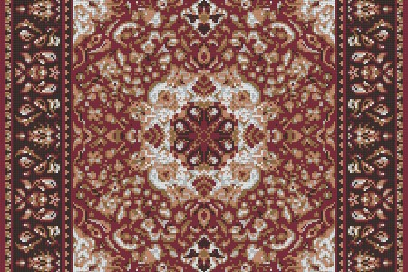 Red Persian tapestries Traditional Ornamental Mosaic by Artaic