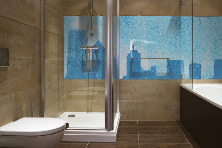Blue cityscape  Graphic Mosaic installation by Artaic