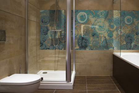 Turquoise effervescence  Abstract Mosaic installation by Artaic