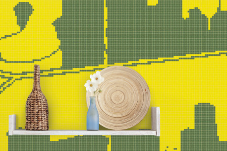 Yellow building structures  Graphic Mosaic installation by Artaic