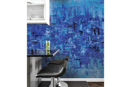 Blue pattern  Textural Mosaic installation by Artaic