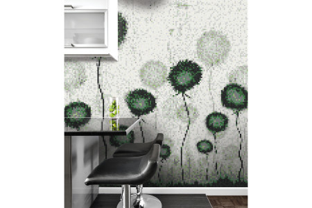 Green fields  Floral Mosaic installation by Artaic