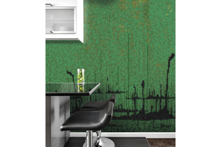 Green brushstrokes  Abstract Mosaic installation by Artaic