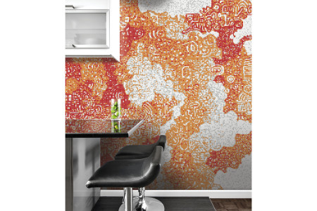 Orange clouds  Abstract Mosaic installation by Artaic