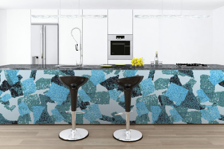 Turquoise geometric shapes  Abstract Mosaic installation by Artaic