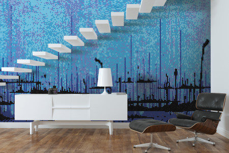 Blue brushstrokes  Abstract Mosaic installation by Artaic