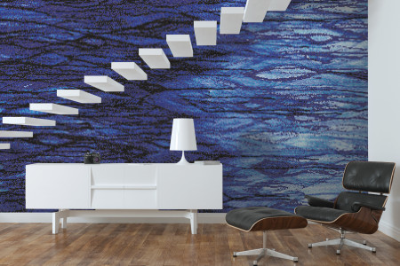 Blue water  Textural Mosaic installation by Artaic
