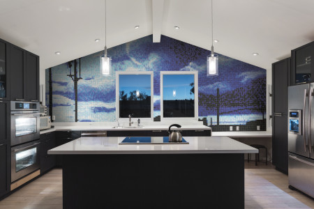 Blue clouds  Photorealistic Mosaic installation by Artaic