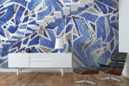 Blue street art  Graphic Mosaic installation by Artaic