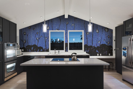 Blue nature  Floral Mosaic installation by Artaic