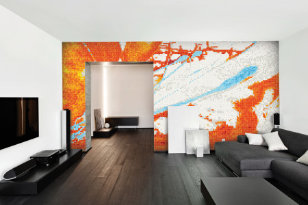 Orange motion  Graphic Mosaic installation by Artaic