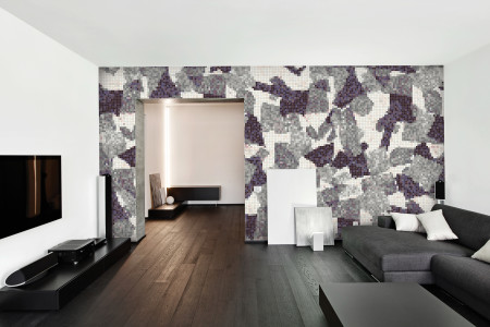 Purple geometric shapes  Abstract Mosaic installation by Artaic