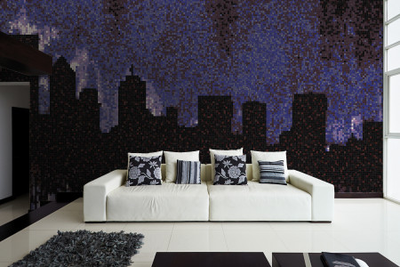 Purple cityscape  Graphic Mosaic installation by Artaic