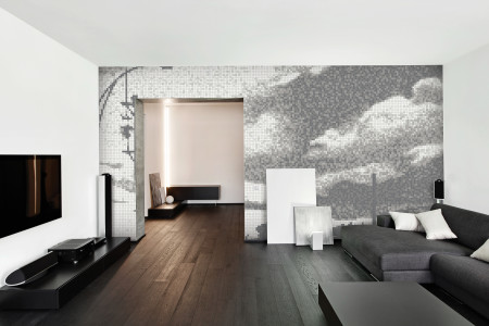 White clouds  Photorealistic Mosaic installation by Artaic