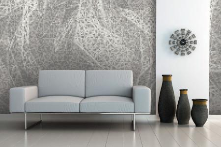 White weave patterns  Textural Mosaic installation by Artaic