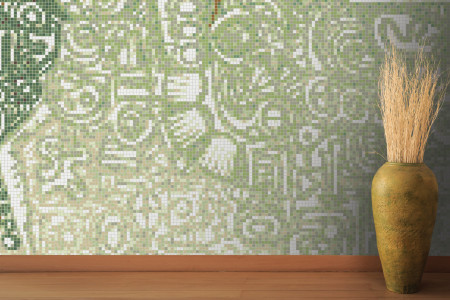 Green symbols  Geometric Mosaic installation by Artaic