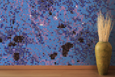 Purple paint droplets  Abstract Mosaic installation by Artaic