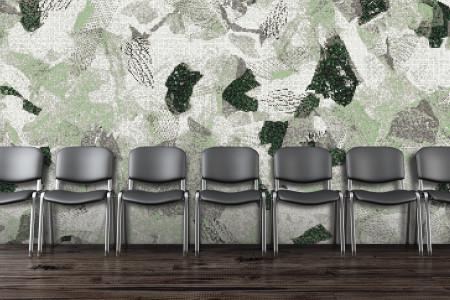 Green cutouts  Textural Mosaic installation by Artaic