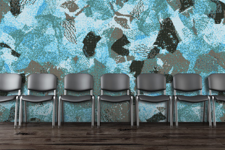 Turquoise cutouts  Textural Mosaic installation by Artaic
